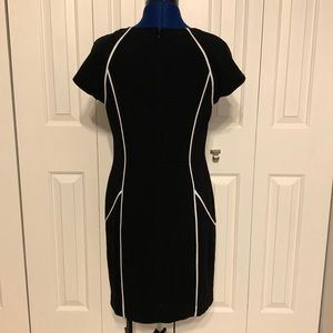 BEBE black dress with white piping